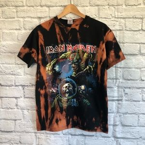 IRON MAIDEN RARE Tour Band T-Shirt -Bleach Tie Dye